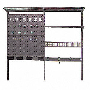 "Ventilated Steel Wire Wall Shelf System, 66""W x 16""D x 63""H, No. of Shelves: 3"