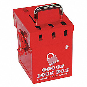 "Red Steel Group Lockout Box, Max. Number of Padlocks: 6, 6"" x 4-1/5"""