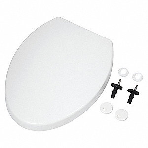 "Slow Close Toilet Seat, Elongated, With Cover, 18"" Bolt to Seat Front"