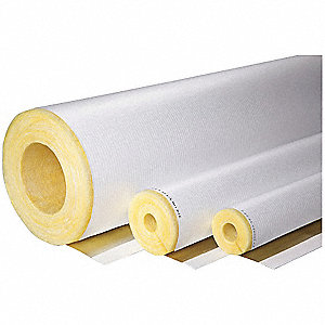 "2"" Thick, Hinged with Self Sealing Lap Fiberglass Pipe Insulation, 3 ft. Insulation Length"
