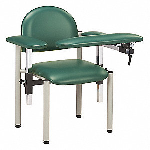 "Blood Draw Chair, Emerald, Seat Depth 18"", Seat Width 17-1/2"", Seat Height 18"""