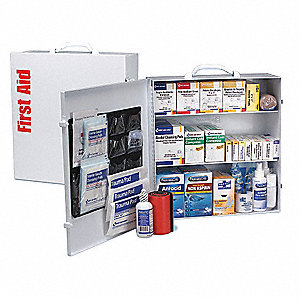 First Aid Kit, Cabinet, Metal Case Material, General Purpose, 125 People Served Per Kit