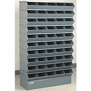 "61"" Steel Sectional Bin Unit with 5000 lb. Load Capacity, Gray; Number of Compartments: 50"