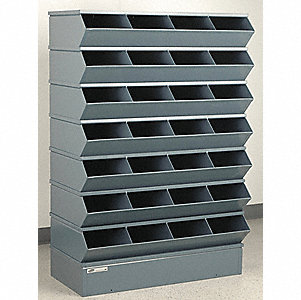 "54-3/8"" Steel Sectional Bin Unit with 5000 lb. Load Capacity, Gray; Number of Compartments: 28"