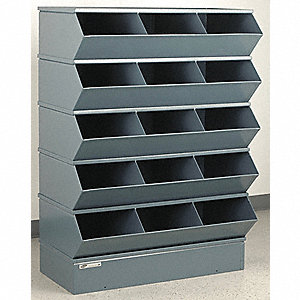 "50-3/8"" Steel Sectional Bin Unit with 5000 lb. Load Capacity, Gray; Number of Compartments: 15"