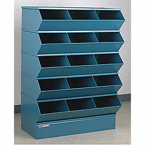 "50-3/8"" Steel Sectional Bin Unit with 5000 lb. Load Capacity, Blue; Number of Compartments: 15"