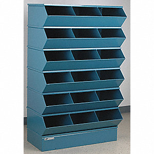 "59-1/4"" Steel Sectional Bin Unit with 5000 lb. Load Capacity, Blue; Number of Compartments: 18"