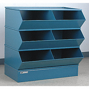 "38-5/8"" Steel Sectional Bin Unit with 5000 lb. Load Capacity, Blue; Number of Compartments: 6"