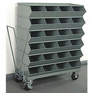 "46-7/8"" Steel Sectional Bin Unit with 3600 lb. Load Capacity, Gray; Number of Compartments: 24"
