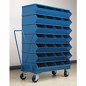 "53-3/4"" Steel Sectional Bin Unit with 3600 lb. Load Capacity, Blue; Number of Compartments: 28"