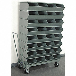 "60-5/8"" Steel Sectional Bin Unit with 3600 lb. Load Capacity, Gray; Number of Compartments: 32"