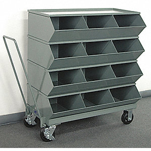 "40-7/8"" Steel Sectional Bin Unit with 3600 lb. Load Capacity, Gray; Number of Compartments: 12"