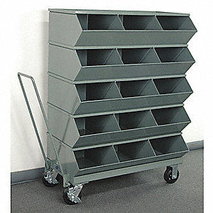 "49-3/4"" Steel Sectional Bin Unit with 3600 lb. Load Capacity, Gray; Number of Compartments: 15"