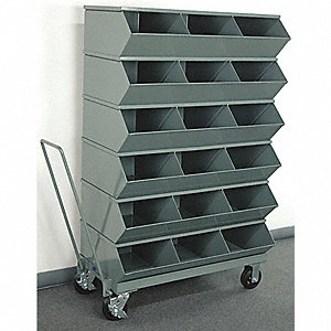 "58-5/8"" Steel Sectional Bin Unit with 3600 lb. Load Capacity, Gray; Number of Compartments: 18"