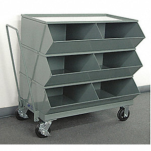 "37-7/8"" Steel Sectional Bin Unit with 3600 lb. Load Capacity, Gray; Number of Compartments: 6"