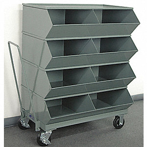 "48-1/4"" Steel Sectional Bin Unit with 3600 lb. Load Capacity, Gray; Number of Compartments: 8"