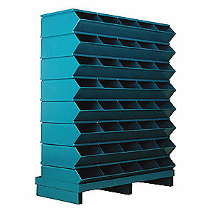 "46-1/2"" Steel Sectional Bin Unit with 5000 lb. Load Capacity, Blue; Number of Compartments: 40"