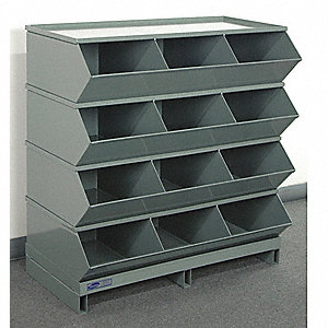 Sectional Bin Unit,12,Gray,38 in. H