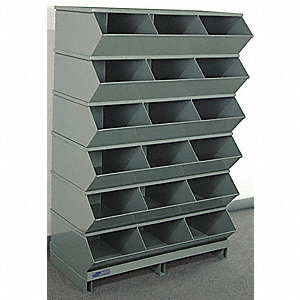 "55-3/4"" Steel Sectional Bin Unit with 5000 lb. Load Capacity, Gray; Number of Compartments: 18"