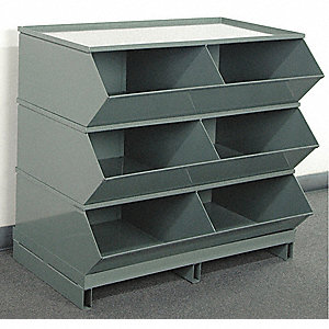 "35-1/8"" Steel Sectional Bin Unit with 5000 lb. Load Capacity, Gray; Number of Compartments: 6"