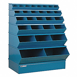 "53"" Steel Sectional Bin Unit with 5000 lb. Load Capacity, Blue; Number of Compartments: 28"