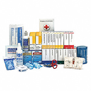First Aid Kit, Refill, Paperboard Case Material, General Purpose, 75 People Served Per Kit