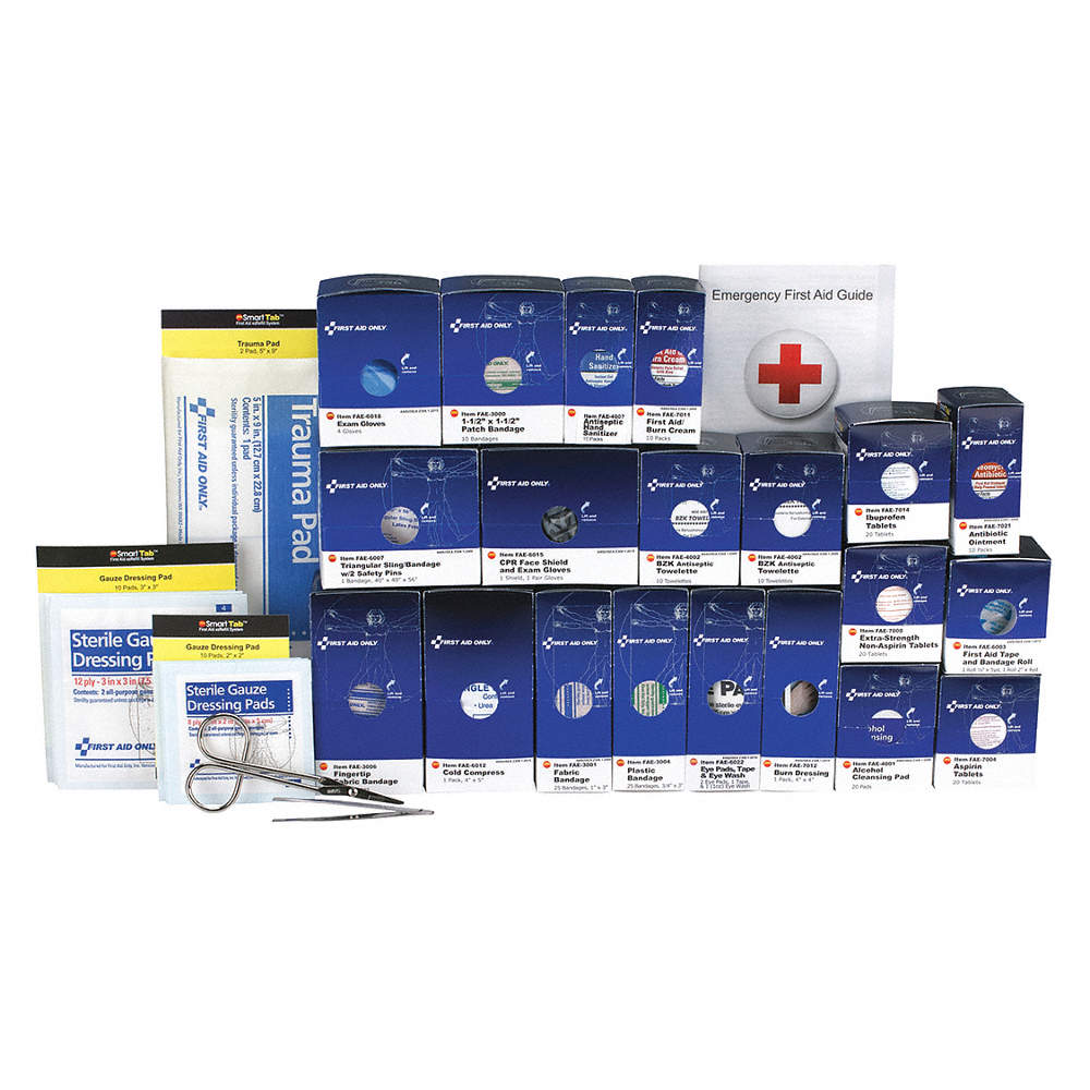 First Aid Kit Refill, Refill, Paperboard Case Material, General Purpose, 50  People Served Per Kit