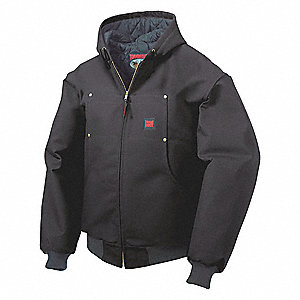 Hooded Jacket, Cotton Duck, Black, 5XL
