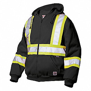 Black 100% Polyester Fleece High Visibility Sweatshirt, Size: 3XL, ANSI Class 1