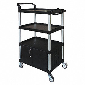 Cart with Cabinet,52-3/4 in. H,Black