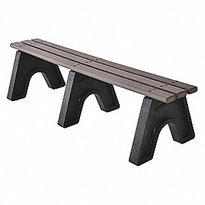 Outdoor Bench,72 in. L,16 in. H,Gry