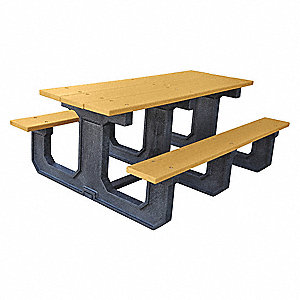"56""D x 72""W Rectangle Recycled Plastic Picnic Table, Cedar"