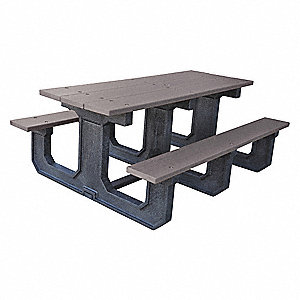 "56""D x 72""W Rectangle Recycled Plastic Picnic Table, Gray"