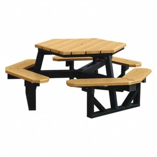 Ultrasite 72 Ind X 72 Inw Hexagon Recycled Plastic Picnic Table Cedar 45nr19 26 Hex Cdr Grainger
