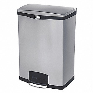 Trash Can,Rectangular,24 gal.,Silver