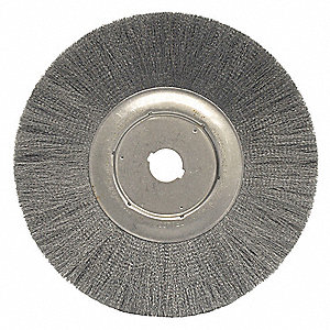 "12"" Crimped Wire Wheel Brush, Arbor Hole Mounting, 0.006"" Wire Dia., 2-15/16"" Bristle Trim Length, 1"