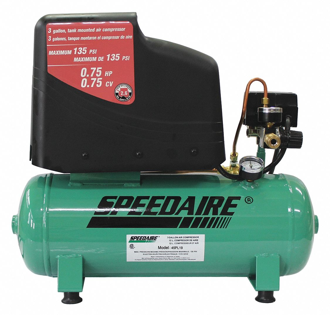 0.75 HP, 115VAC, 3 gal. Portable Electric Air Compressor