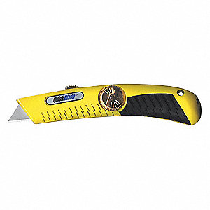 "Yellow,Carbon Steel Utility Knife,6-3/4"" Overall Length,Number of Blades Included: 1"