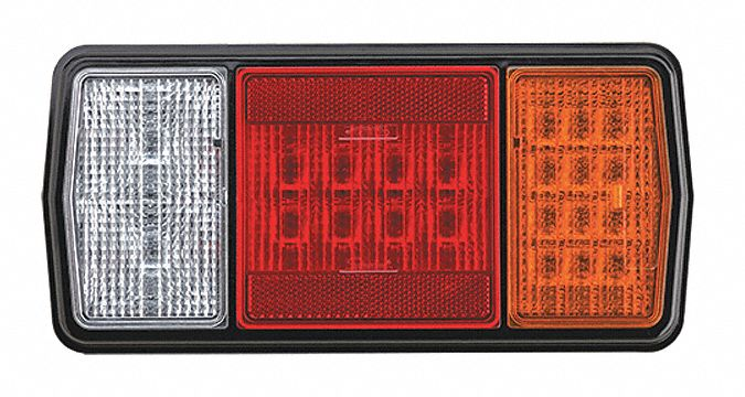 11 5/16 in Rectangular Stop/Turn/Tail Light, Amber, Black, Clear, Red