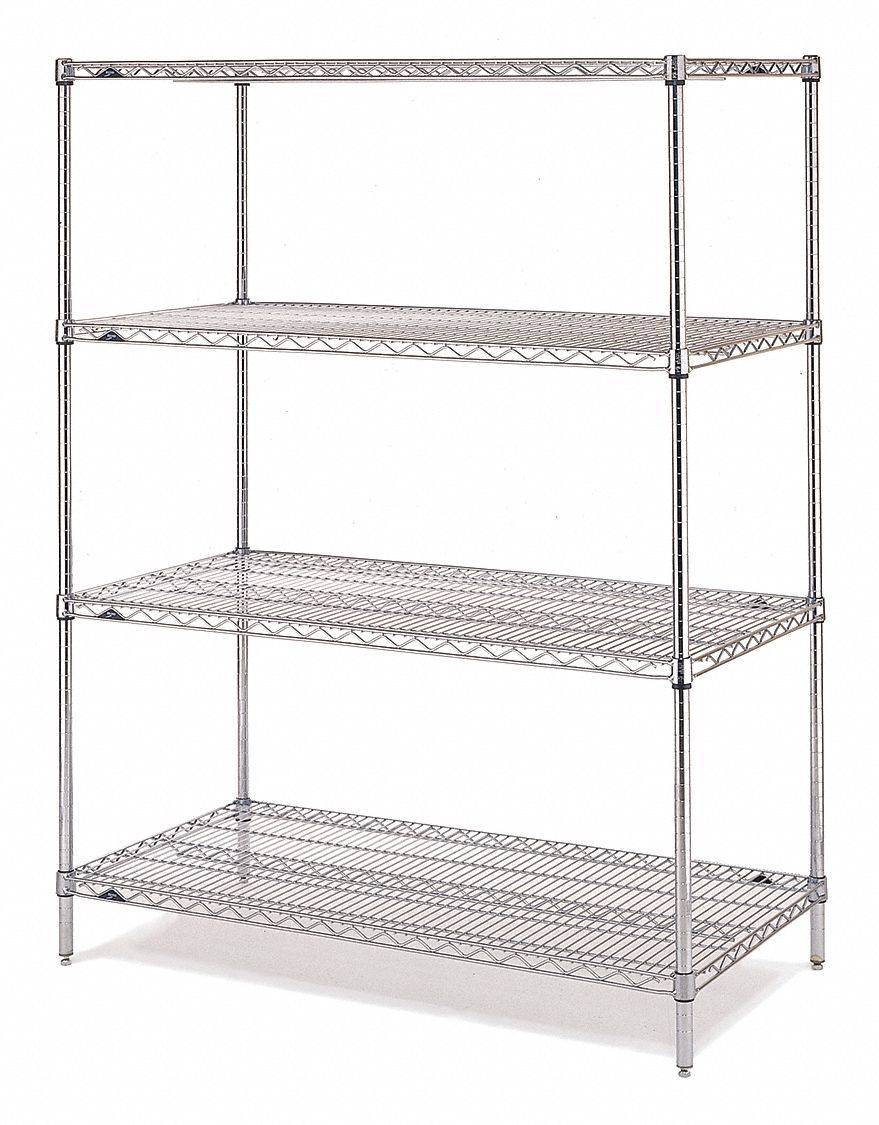 Starter Wire Shelving Unit 72 W X 24 D X 86 H 4 Shelves Chrome Plated Finish Silver
