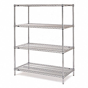 "Starter Wire Shelving Unit, 72""W x 24""D x 63""H, 4 Shelves, Stainless Steel Finish, Silver"