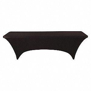 "30"" x 96"" Spandex, Polyester Stretch Fitted Table Cover, Black"
