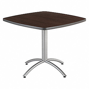 "Square Cafe Table, Walnut, Height: 30"", Depth: 42"""