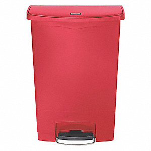 "Slim Jim® 24 gal. Rectangular Flat Trash Can, 32-1/2""H, Red"