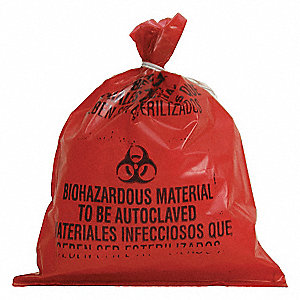 Red Black Biohazard Bags Heavy Strength Rating Flat Pack