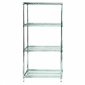 "Starter Wire Shelving Unit, 48""W x 24""D x 74""H, 4 Shelves, Stainless Steel Finish, Silver"