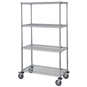 "Mobile Wire Shelving Unit, 36""W x 18""D x 69""H, 4 Shelves, Stainless Steel Finish, Silver"