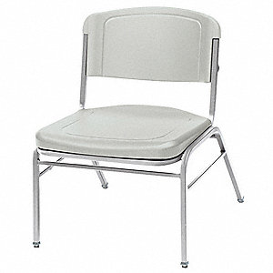Silver Steel Stacking Chair with Platinum Seat Color, 4PK