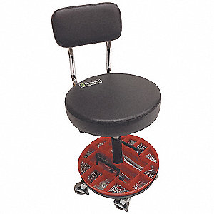 "Mechanics Stool with 18-1/2"" to 22"" Seat Height Range and 300 lb. Weight Capacity, Black"