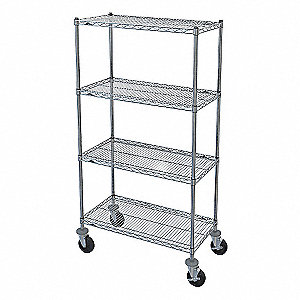"Mobile Wire Shelving Unit, 36""W x 18""D x 67-7/8""H, 4 Shelves, Chromate Finish, Silver"